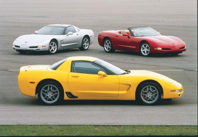 The hardtop Corvette (foreground) realized its performance potential in 2001 as Chevrolet transformed it into the Z06.