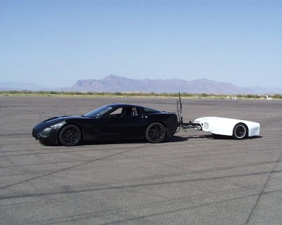 A developmental C6 Corvette is tested at the GM Desert Proving Ground in Mesa, Arizona.