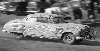 Herb Thomas throws his Hudson Hornet into the first turn at Harnett Speedway in Spring Lake, N.C.