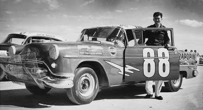 Tim Flock and  Colonel Ernest Woods's  #88 Oldsmobile at Daytona.