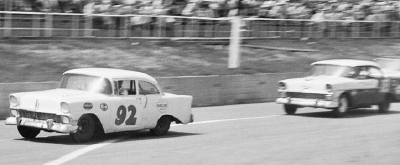 Herb Thomas wheels his #92 Chevrolet down the front chute at Raleigh Speedway in the 250-mile NASCAR Grand National event.