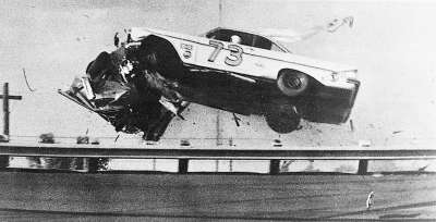 Lee Petty and Johnny Beauchampwere involved in a horrifying last-lap crash in the second Twin 100-miler in 1961.