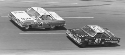 Defending NASCAR champion Rex White, in the #4 Chevrolet, passes Tim Flock's #83 Ford at the Feb. 26 Daytona 500.