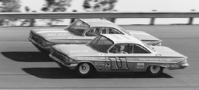 Ned Jarrett races in close quarters with teammate Johnny Allen in the Daytona 500.