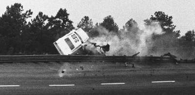 Johnny Allen survived this spectacular tumble outside Atlanta Inter­national Raceway in the June 30 Dixie 400.