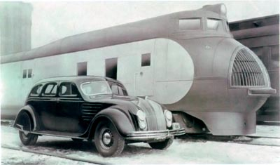 A public relations photo showing the 1934 Chrysler Airflow with a new Steamliner locomotive.
