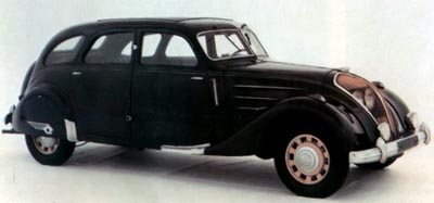 The French-built Peugeot 402 borrowed heavily from the Airflow's design.