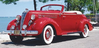 The 1936 Hudson Custom 8 convertible coupe, part of the 1935-1938 Hudson Custom Eight line of collectible cars.
