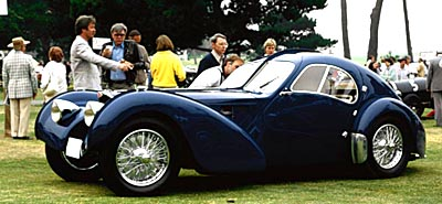 1937-1939 Type 57SC Atlantic coupe, part of the 1936-1938 Bugatti Type 57S/SC line of collectible cars