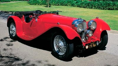 The 1937 SS Jaguar 100 roadster, part of the 1936-1940 SS Jaguar 100 line