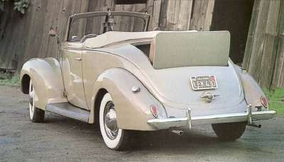 The 1938 Ford DeLuxe convertible coupe was part of the reduced lineup for the year.