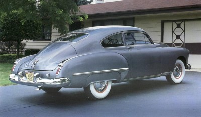 The 1949 Oldsmobile was powered by the V-8 Rocket engine.