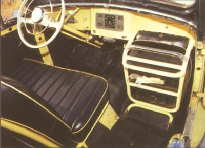 The front passenger seat of the 1948 Willy Jeepster