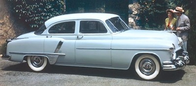 This 1951 Oldsmobile Super 88 sedan was part of the 1951-53 Oldsmobile Super 88 line.