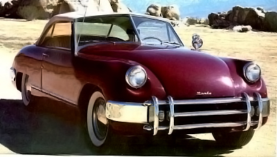 front view of a red 1954 Muntz Jet automobile