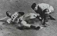 Willie Mays slides home ahead of Cardinals catcher Bill Sarni's tag.