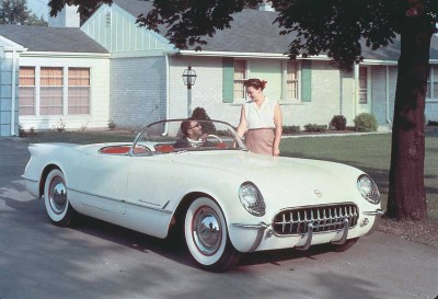 This promotional scene notwithstanding, Americans hadn't widely embraced the idea of sports cars when Chevrolet unveiled the Corvette in 1953.