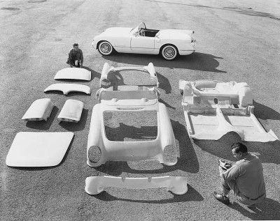 Corvette's fiberglass body comprised 46 pieces glued together to form the nine major subassemblies.