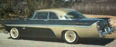 Color offerings for the 1956 DeSoto Adventurer included the black body with gold roof and sweep pictured here.