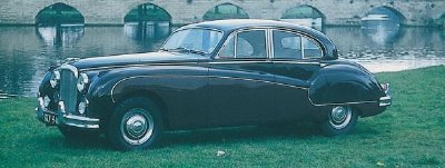 The 1957-1958 Jaguar Mark VIII sedan, part of the 1956-1959 Jaguar Mark VIII series.