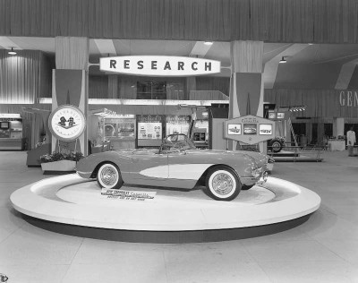 The rakish 1956 Corvette was a big draw at auto shows and Chevy showrooms.