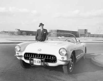 The narrow-band whitewalls on this 1956 Corvette weren't publicly available until 1959.