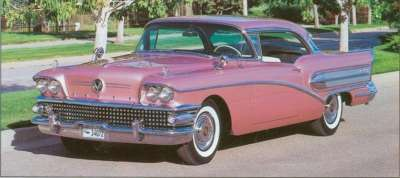 Laurel Mist paint lends a rosy glow to a 1958 Buick Century two-door hardtop.