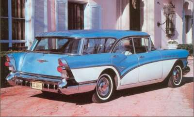 For 1957 Buick brought pillarless styling to its station wagons, like the $3,076 Century Caballero.