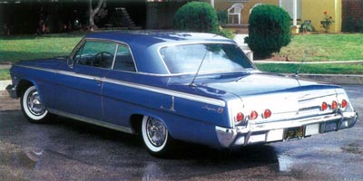 The 1962 Impala face-lift lent this two-door hardtop a squarer, more august appearance.