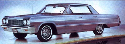 The loftiest four-door in the 1964 Impala series was the hardtop sedan, which started at about $2,800.