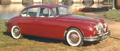 The 1960 Jaguar Mark II sedan, part of the 1960-1969 Jaguar Mark II series.