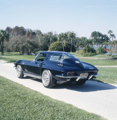 The 1963 Corvette Sting Ray coupe boasted a distinctive split rear window.