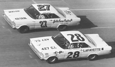 Fred Lorenzen and Junior Johnson race side-by-side in the February 12, 1965 Twin 100-meter qualifier at Daytona.
