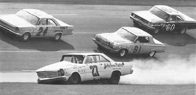 Junior Johnson had a big lead in the 1965 Daytona 500, but crashed when a right front tire blew.