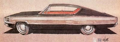 A preliminary sketch for a customized Polara that eventually led to the Dodge Charger.
