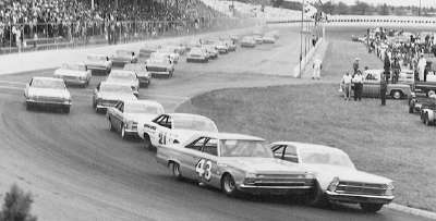 Darel Dieringer and Richard Petty lead the charge in the April 23, 1967 Virginia 500 at Martinsville Speedway.
