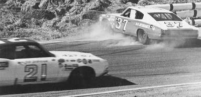 Bobby Isaac's #37 Dodge skids off the course during the Jan. 21, 1968 Motor Trend 500 at Riverside International Raceway.