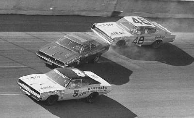 Bud Moore's Dodge lurches sideways in the first turn during the early laps of the Feb. 25, 1968 Daytona 500.