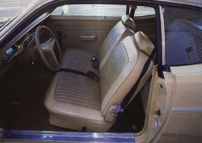 1970-1976 Plymouth Duster Gold Duster package split-bench seating.