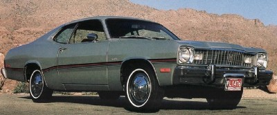 The 1976 Plymouth Silver Duster had a canopy vinyl roof and attractive lower-body striping.