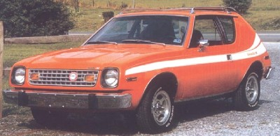 The 1977 AMC Gremlin featured a sloping nose.