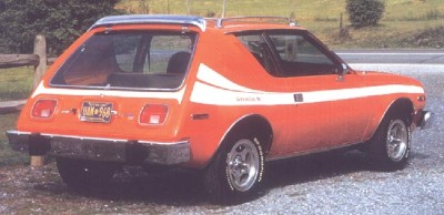 The 1977 AMC Gremlin featured enlarged taillights and a deeper hatch window.