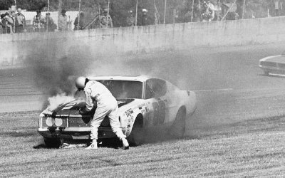 An engine-compartment fire knocked LeeRoy Yarbrough out of the 1971 Daytona 500 on the 46th lap.