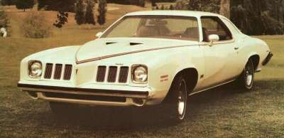 Among the 1973 Pontiac Grand Am engine options were an L75 and a pair of 400 V-8s.