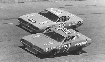 The 1973 Daytona 500 came down to a battle between the Dodges of Buddy Baker and Richard Petty.