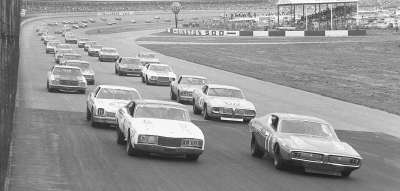 Number 71 Buddy Baker's and #21 David Pearson qualified on the front row in the May 6 Winston 500.