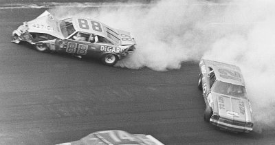 Donnie Allison's mangled #88 Chevrolet bounces off the wall during the 1973 Talladega 500.