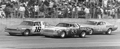 Gary Bettenhausen's #16 Penske AMC Matador leads #83 Ramo Stott and #2 Dick Brooks in the Feb. 17 Daytona 500.
