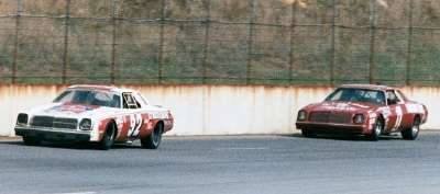 Number 92 Skip Manning leads #1 Donnie Allison in the late stages of the Aug. 7 Talladega 500.