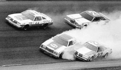 Buddy Baker's #27 Oldsmobile tangled with #15 Bobby Allison in the Feb. 16, 1978 Twin 125-miler at Daytona.